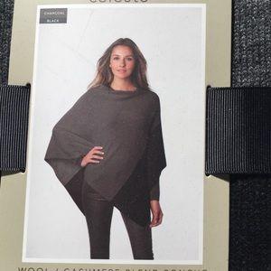 Celeste NWT Gray/Black Cashmere/Wool Poncho